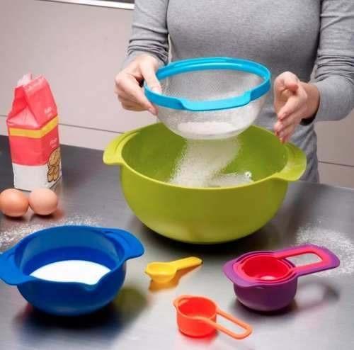 set batería de cocina 2 ollas cerámica + 9 utensilios colors