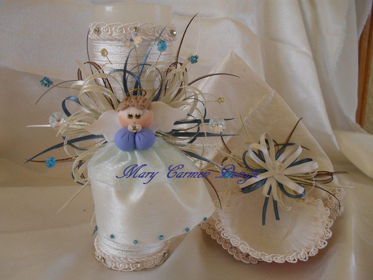 Set bautizo angel porcelana fria vela concha toallita - Decoracion de velas para bautizo ...