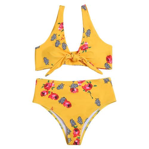 set bikini impresión bowknot acolchado cuello zambullida di
