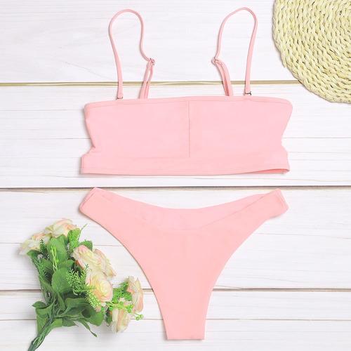 set bikini mujeres cintura bajo escotado por detrás correa