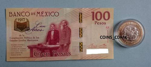 set billete $100 centenario constitucion moneda $20 2017 nvo