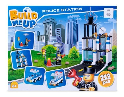 set bloques build me up police station 252 piezas