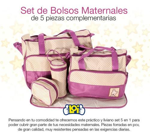 set bolsos maternales 5 piezas de calidad con cambiador loi