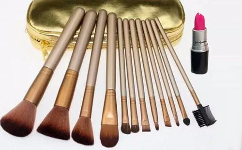 set brochas 12 pcs naked estuche + labial mac + envio gratis