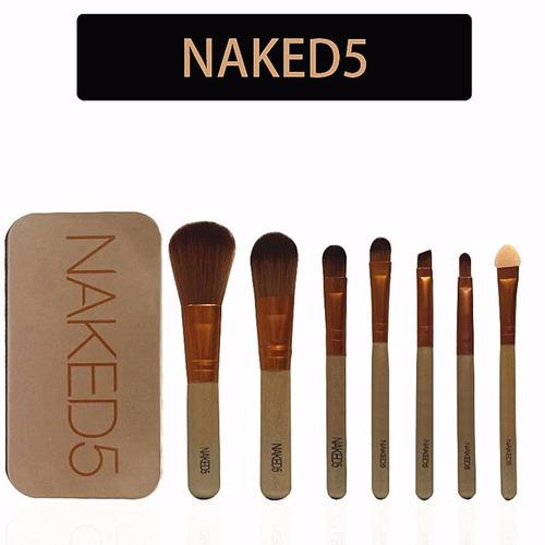 set brochas 7 pcs naked 5 estuche + labial mac+ envio gratis