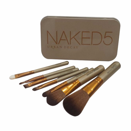 set brochas 7 pcs naked 5 estuche + labial mac+ envio gratis