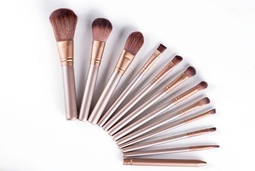 set brochas maquillaje 12 pcs naked3 estuche metálico