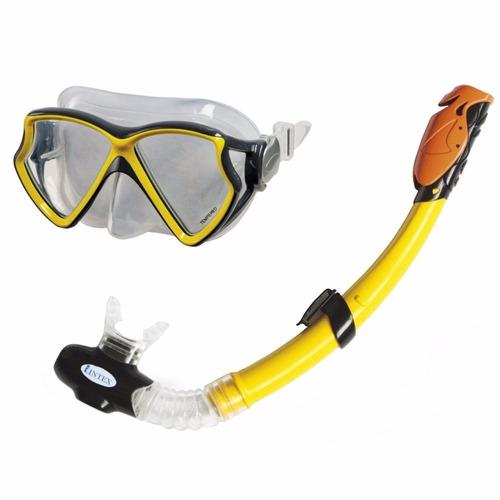 set buceo gafa vidrio careta snorkel 2va intex  55960 *