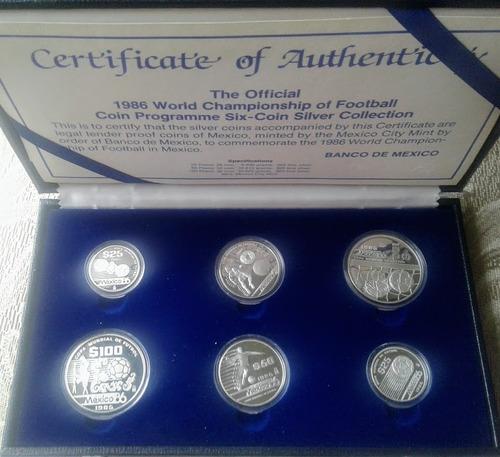 set c de 6 monedas plata mundial futbol mexico 1986 !