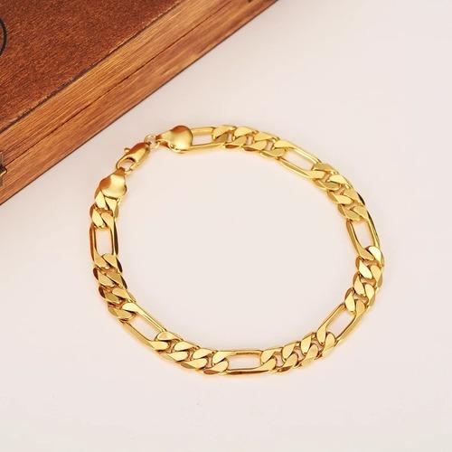 set cadena + pulsera hombre plata baño de oro 18k n02 nueva