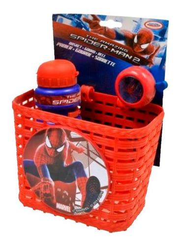 set canasto timbre y caramañola de spiderman - bicicleta