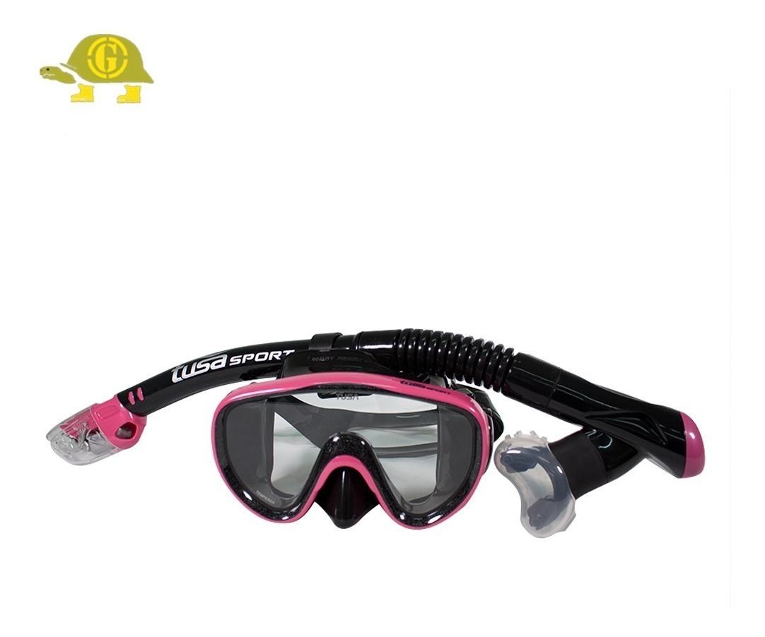 fresh styles classic fit biggest discount Set Careta + Snorkel Negro Y Rosado Marca Tusa Sport