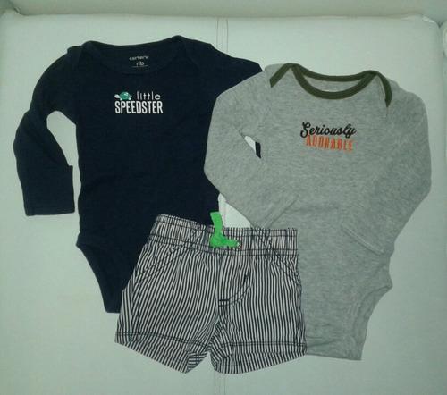 set carters recien nacido ropa bebe body manga larga short