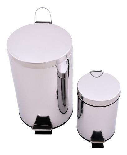 set cestos de basura begônia acero inoxidable 3 l + 12 l