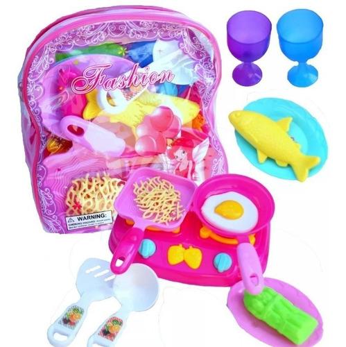 set cocina niña comida + bolso juguete juego comidita fabans