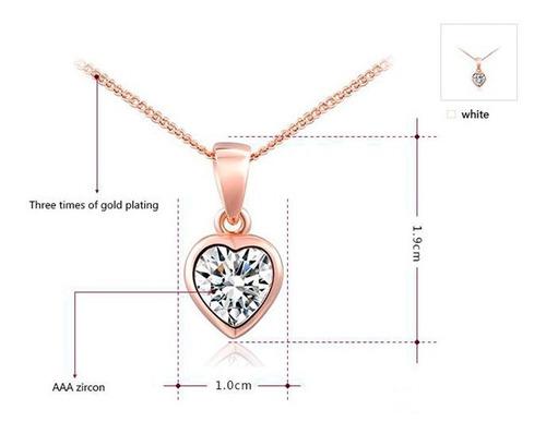 set collar+aretes mujer corazón cristales aus oro rosa18k lb