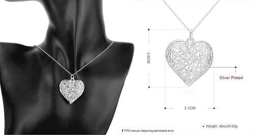 set collar + pendientes corazon colgante joya aretes dama
