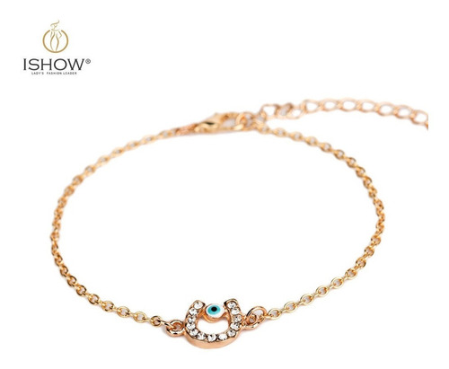 set collar + pulsera herradura cristal zirconia azul, regalo