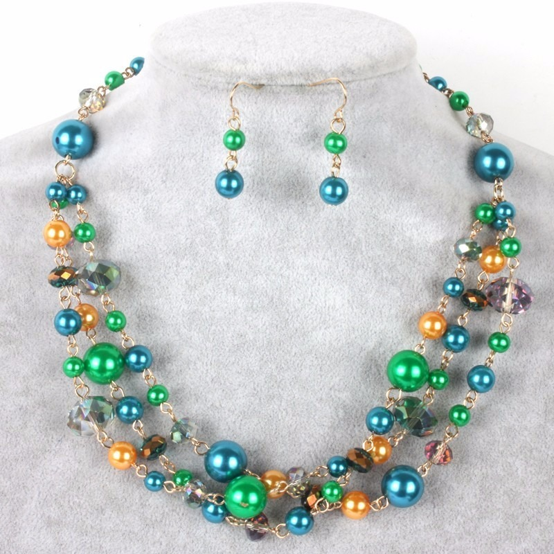 606e4f882af0 Set Collar Y Aretes De Perla Y Cristal Moda Bisuteria Fina ...