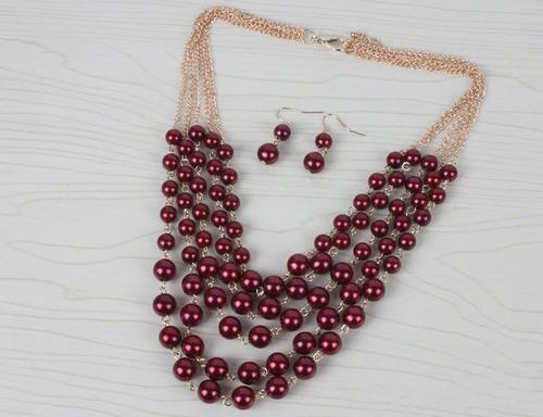 9f864967bf2c set collar y aretes de perla y cristal moda bisuteria fina. Cargando zoom.