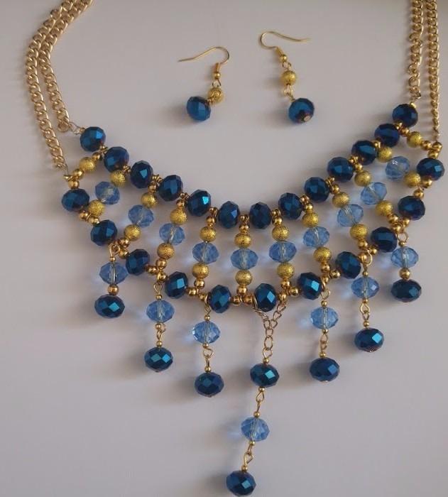cfbb377227bd Set Collar Y Aretes De Perla Y Cristal Moda Bisuteria Fina ...