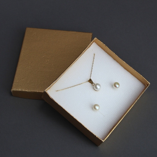 set collar y aretes de perlas chapa oro 22k regalo pareja