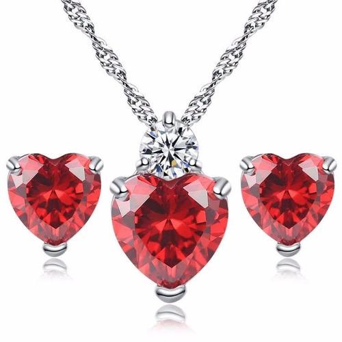 set collar y aretes de plata 925 zirconia corazón mujer dama