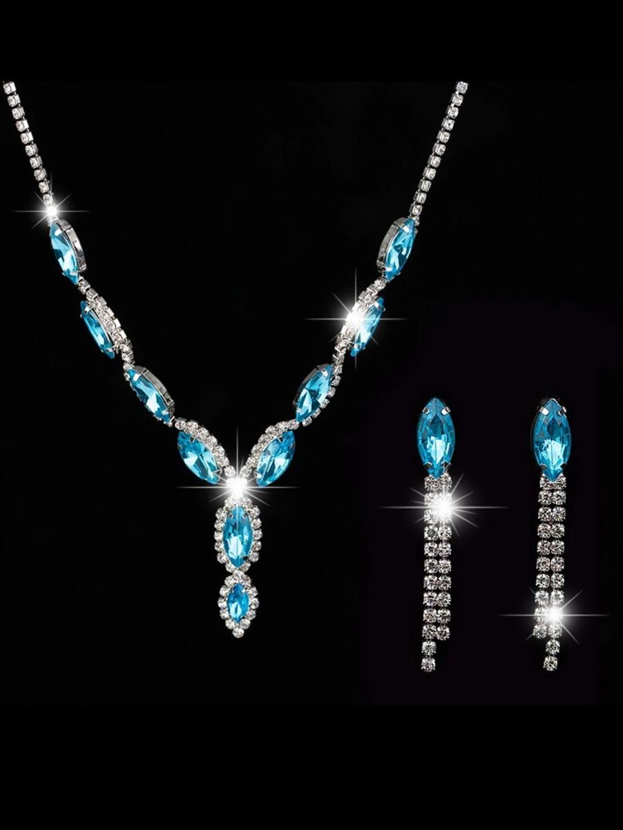 412974ae6115 Set Collar Y Aretes Largos Azul -   400.00 en Mercado Libre