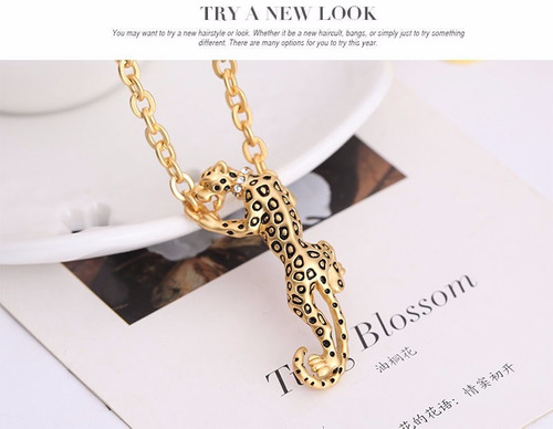set collar y aretes leopardo mujer party crystal plated pend