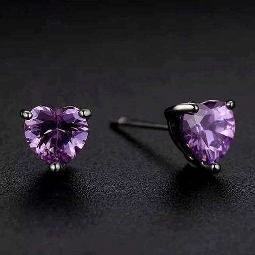 set collar y aretes plata .925 zirconia púrpura corazón dama
