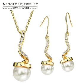1b27a91c7eca Set Collar Y Pendientes Perlas Doradas Swarovsky Elements