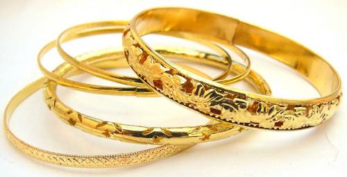 set combo de 5 pulseras mujer en metal doradas plateadas
