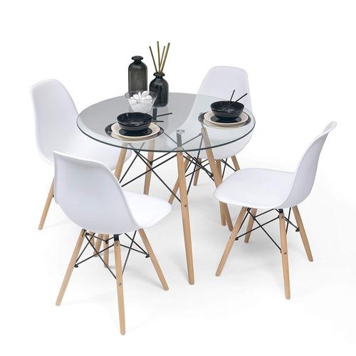 set comedor eames cristal 80cm + 4 sillas - liquidación!!