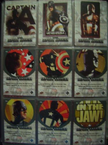 set completo 12 tarjetas especiales marvel capitan america