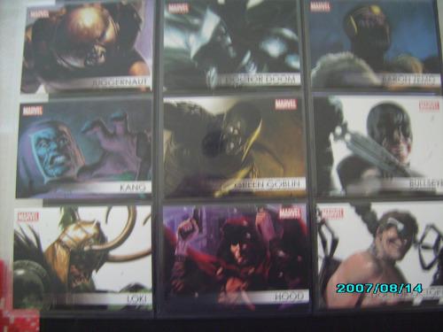 set completo 18 tarjetas marvel grandes heroes - villains