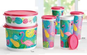 Set Completo 2 Tupper Poeme 4 Vasos Con Tapa Hermeticos Original Tupperware