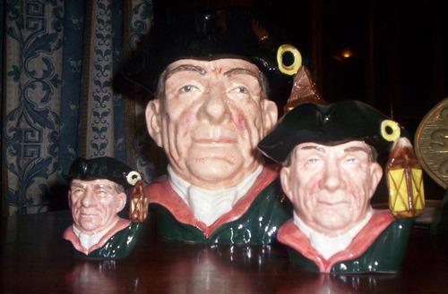 set completo de tres jarras royal doulton nightwatchman