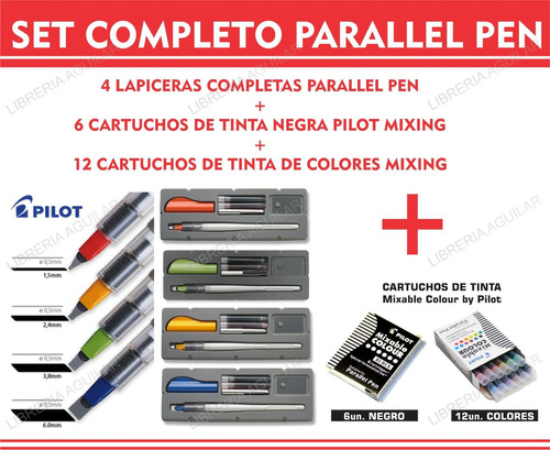 set completo parallel pen  4 plumas + cartuchos negros color