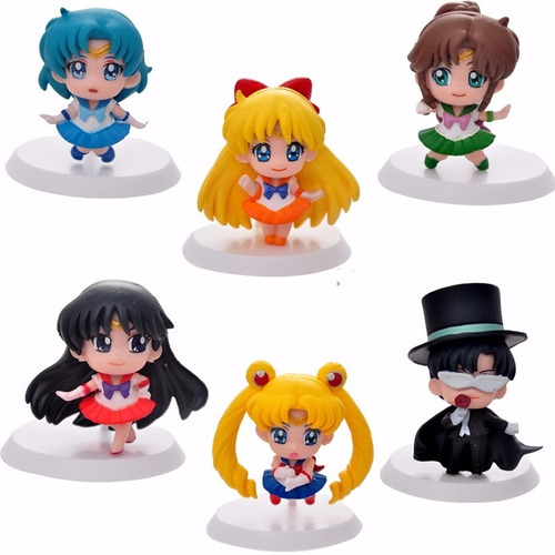 set completo sailor moon chibi x 6 figuras con base