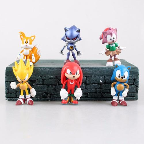 set con 6 muñecos de colección de sonic