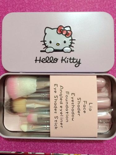 set con 7 brochas kitty envío gratis color rosa o negro