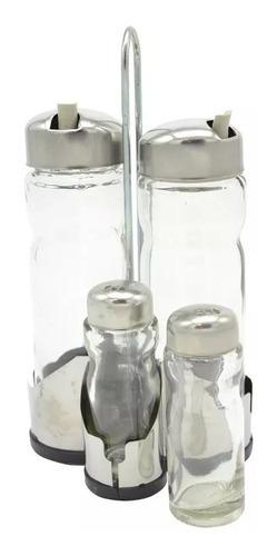 set condimentos acero inox 4 frascos aceitero vinagrero