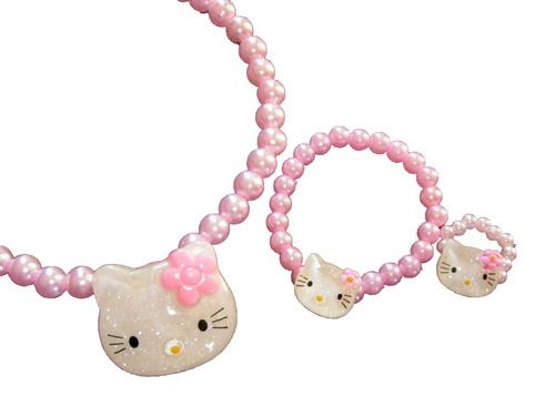 49d3520894a2 Set Conjunto Perla Hello Kitty Collar Pulsera Anillo Nenas -   99