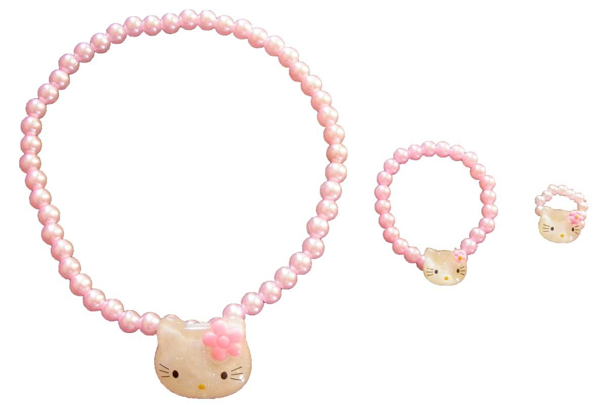 e56cd13ab73e set conjunto perla hello kitty collar pulsera anillo nenas. Cargando zoom.