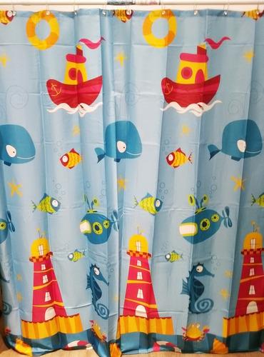 set cortina de baño y cesto de ropa  under sea casamia