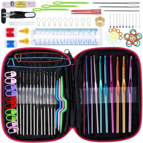 set crochet + estuche +accesorios