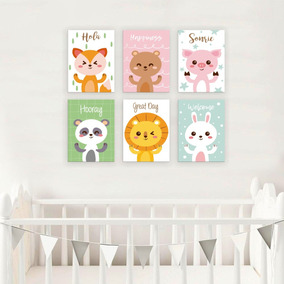 Set Cuadros Canvas Cuarto Bebé Animalitos Personalizables