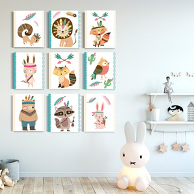 Set Cuadros Canvas Decorativo Niños Cuarto Bebé Animalitos