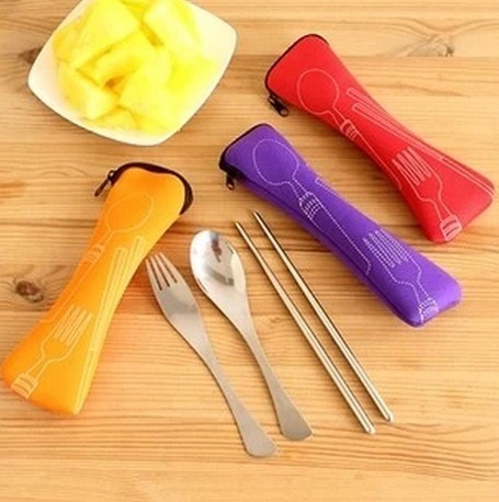 set cuchara palillos tenedor estuche obento comida japonesa