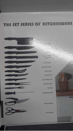 set cuchillos 24 piezas diseño suizo tipo ceramico volcanico